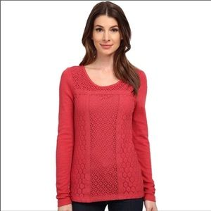 Lucky Brand Crochet Lace Thermal Top T-shirt